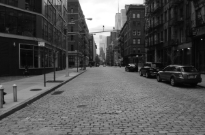 Greenwich Street facing south from Canal Street in black-and-white
