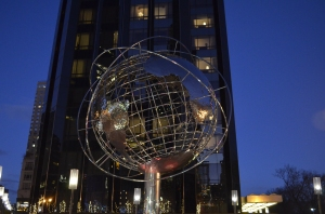 Cool globe at Columbus Circle