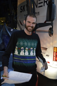 Poor Max has a hideous Christmas sweater!