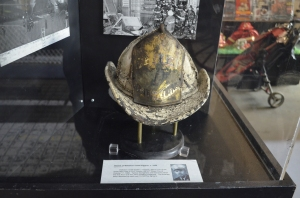 The helmet of a fire chief who was killed on duty